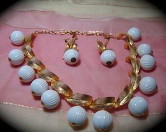 Vintage Empress Jewels Necklace and Earring Set.