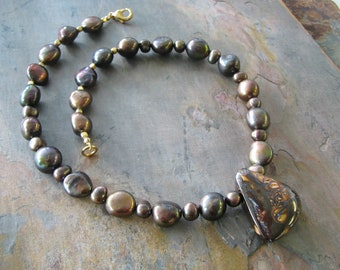 Mocha Nugget Pearl Necklace with Boulder Opal Matrix