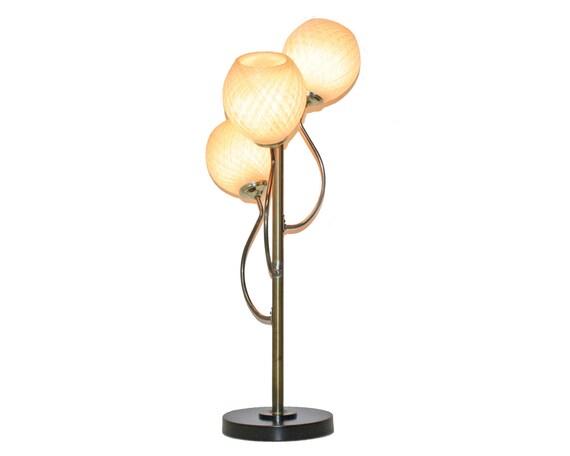 Danish Modern Table Lamp . 3 Light Spun Fiberglass Shades