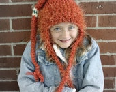 Crocheted Rustic Orange Winter Earflap Hat For Girl or Boy 5t to preteen