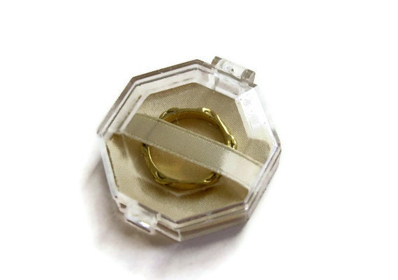 Vintage Ring Box Clear Lucite Art Deco Era Jewelry Engagement Wedding Presentation Box
