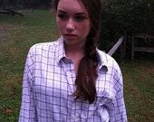 """Men's & Women's Button Down Ombré 'Plaid"""" Dress Shirt - Size S/M/L"""