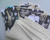 "OOAK: ORGANIC eco-friendly washcloths - set of 4 in ""Animal-land"" (soft fleece fabric & GOTS certified organic terry) Ready To Ship"
