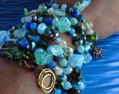 Beach sea glass inspired bracelet/necklace,