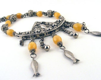 Vintage Necklace Asian Boat Fish Yellow Silver Filigree Statement Piece