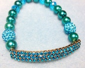 Turquoise Pave Bar Bracelet by 2CarasCreations