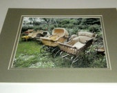 Vintage Baby Buggy Photo - Matted Photo - Baby Carriages - 11 x 14 - Old Time Baby Buggies - Baby Buggies in a Rowl - Nursery Room Decor
