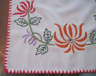 vintage White Tablecloth Runner - Dresser Scarf - with Bright and Colorful Embroidered Flowers and Red Edging
