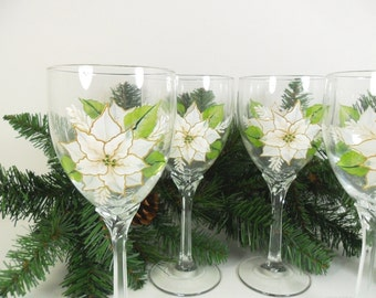 Poinsettia Wine Glasses White Christmas Hand Painted Set of 4