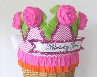 Birthday Party Crown, birthday party hat, girld birthday hat, hot pink and orange birthday, customize