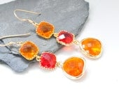 Tangerine Orange and Ruby Red Glass Gold Filled Teardrop Earrings-Bridesmaids Earrings, Summer and Fall Wedding Bridal Jewelry,