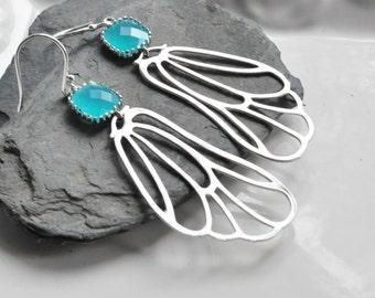 Morrocon Filigree Earrings with Aqua Blue bezel set stone, Bohemian Jewelry, Feather Earrings, Wing