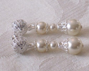 Swarovski Pearl Earrings Ivory Cream Glass Pearl Silver Filigree Post Glass Mother of the Bride Groom Bridesmaid Earrings Mother Gift E109