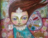 "Dream -Fine art print mixed media art 8 x 10"""
