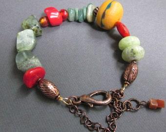 orange green and copper tribal - the aurora bracelet