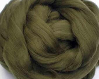 "Ashland Bay Solid Colored Merino for Spinning or Felting ""Olive""  4 oz."