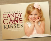 "Photo Christmas Card, Holiday Card: PRINTABLE (""Candy Cane Kisses"" Christmas custom card)"