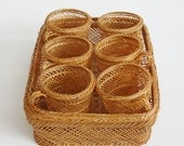 10 Dollar Sale Vintage Wicker Rattan Cup Holders and Basket