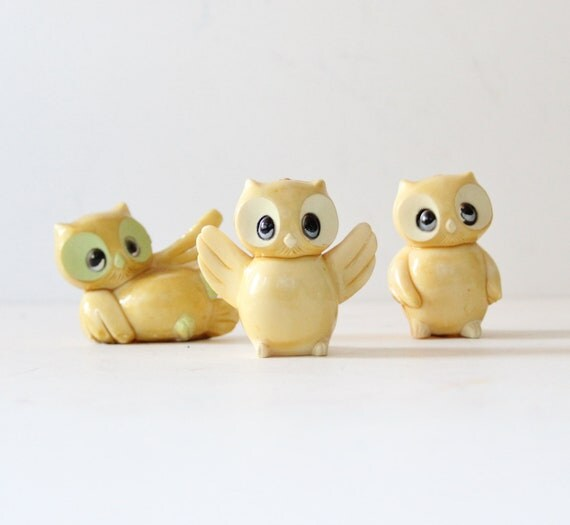 Vintage Owl Figurines Miniatures - Set of Three - Instant Collection