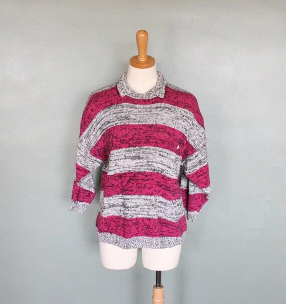 Vintage 80s PINK Stripe Sweater - Women M - New Wave