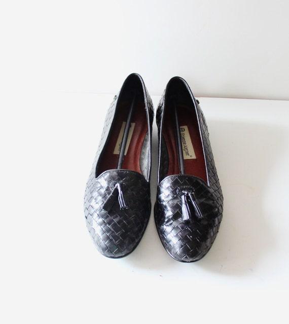 Vintage Etienne Aigner Loafers - Black Leather - Women 9 Narrow - Woven Tassel