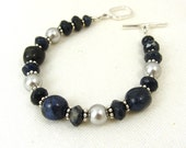 Denim blue dumortierite and silver grey pearl bracelet with sterling silver