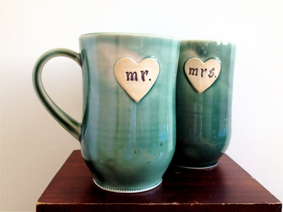 Newlywed Couple Mr. and Mrs. mug set In Yellie Cellie Teal Just Married- Ready to Ship