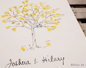 Fingerprint Tree Wedding Guest Book Alternative, Original Hand-drawn Extra Small Birch Sapling Design (ink pads sold separately)