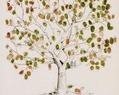 Fingerprint Tree Wedding Guest Book Alternative, Original Hand-drawn Extra Large Oak Tree Design (ink pads sold separately)