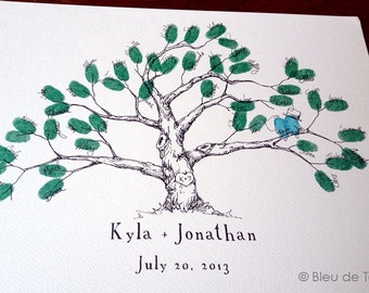 Wedding Guest Book Alternative, Fingerprint tree, Extra Small Low Oak Tree, Original Wedding Guest Book, thumbprint tree, Rustic Wedding