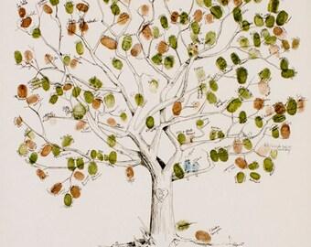 Fingerprint tree, Wedding Guest Book Alternative, Large Great Oak Tree, Original Wedding Guest Book, thumbprint tree, Rustic Wedding