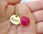 Gold Mother's Necklace with Chalcedony Gold Pendant - BRIDAL, Wedding, MOMMY, Mother, FRIEND