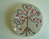Mosaic Wall Hanging Tree Red Hearts Idridescent Glass Home Decor Cottage Valentines Day Gift