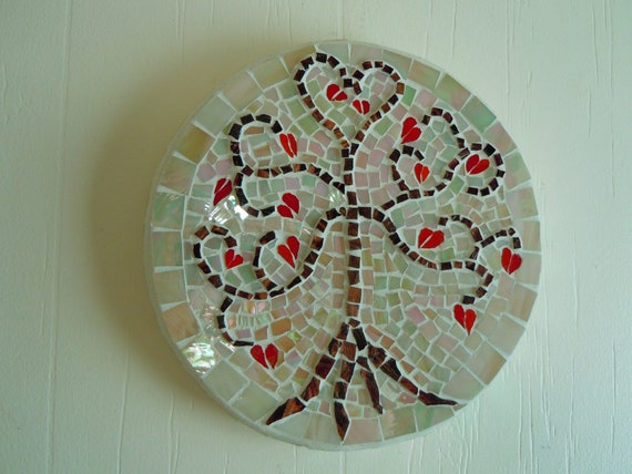 Red Mosaic Wall Decor : Mosaic wall hanging tree red hearts idridescent glass home