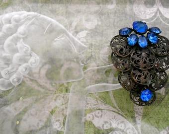 1930's Blue Rhinestone Filigree Dress Clip