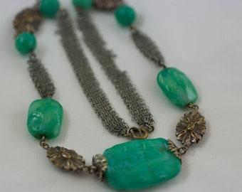 Vintage Jade Green Glass Silver Tone Metal Floral Mesh Art Nouveau Necklace  .....2293