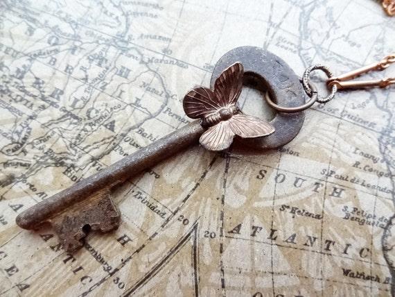 FREE Shipping 1800's vintage large skeleton key brass butterfly steampunk necklace  Ooak