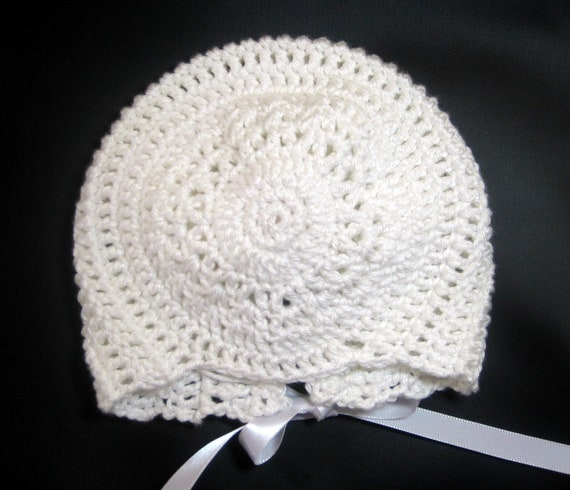 READY TO SHIP Crochet baby bonnet cotton crochet hat cap - baptism, christening, newborn infant toddler baby girl baby boy White 0-3