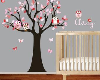 Vinyl Wall Decal Stickers Owl Tree Set Nursery Girls Baby red and pink nursery custom name