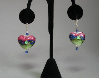 Lampworked Heart Earrings
