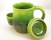 Mug, Tea Drinker's Sidekick, Cup With Lid In Moss - Made to Order