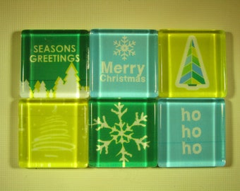 Holiday Decorations Refrigerator Magnets, Set of 6 Fridge Magnets with Storage Tin