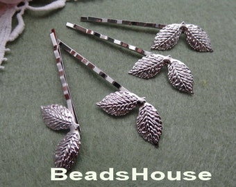 10pcs High Quality Silver Plated Hair Clip w/Leaf,Nickel Free