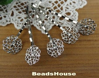 10 Pcs Silver plated Hair Clip W/15mm Filigree, Nickel Free