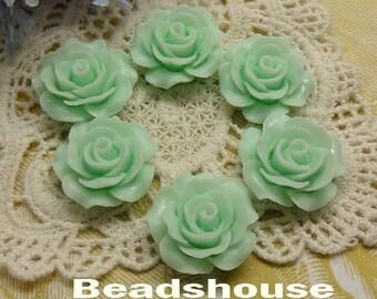 6pcs (20mm) Beautiful Roses Cabochon-Pale Green (696-00-CA)