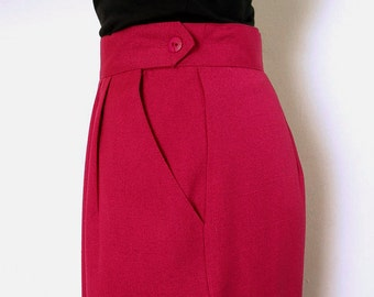 Vintage 80s Pencil Skirt Dark Red Magenta Straight Skirt / Large