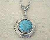 Small Silver Locket Necklace Wedding Bride Bridesmaid Turquoise Wife Sister Mother Anniversary Birthstone Photo Pictures - Brooke