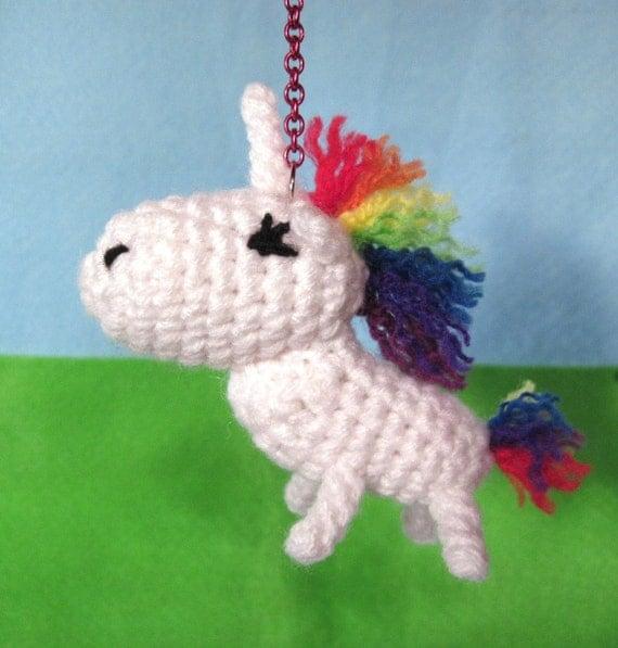 Crochet Unicorn Horn : Rainbow Unicorn Keychain Charm Crochet by DesigningImpressions