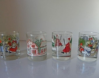 Anchor Hocking set of 4 shot glass Christmas Candle Holders for tea lights or small candles