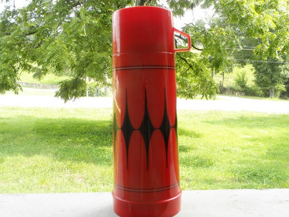 Vintage Red Aladdin Thermos Tall Quart size